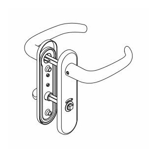 WC - Drückergarnitur Drücker Drücker Außenvierkant Aluminium D410 S OGL
