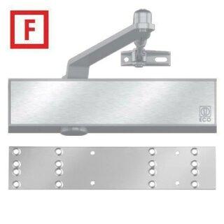 Obentürschließer TS-50 Silber RAL 9006 mit Gelenkarm und Montageplatte