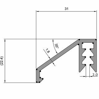 750 mm Alu-Regenleiste für MZD/ HT8 Türen