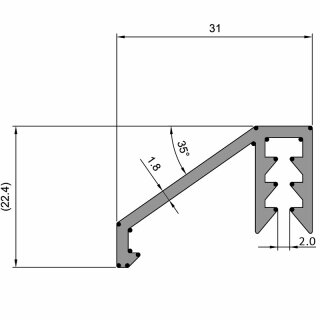 875 mm Alu-Regenleiste für MZD/ HT8 Türen