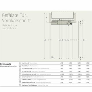 Innentür Basic Durat 735 x 1985 links, Wandstärke 215 - 294 mm