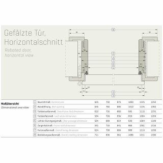 Innentür Basic Durat Struktur 735 x 2110 links, Wandstärke 75 - 144 mm