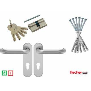 Design-Paket (Befestigungssatz, Design-Sicherheits-Profilzylinder und Drückergarnitur aus Edelstahl)