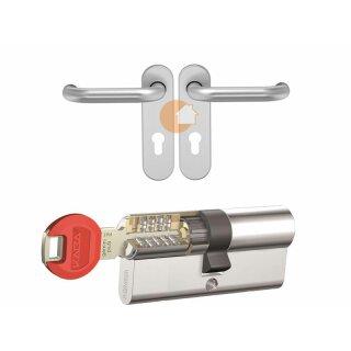 Design-Paket (Design-Sicherheits-Profilzylinder und Drückergarnitur aus Edelstahl)