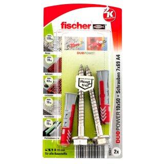 fischer DUOPOWER 10 x 50 S Schraube nicht rostender Stahl A4 (2 St.)